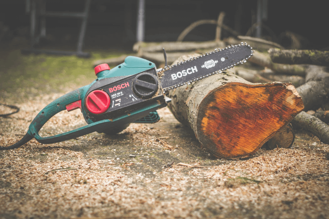 chainsaw leaning on fallen log