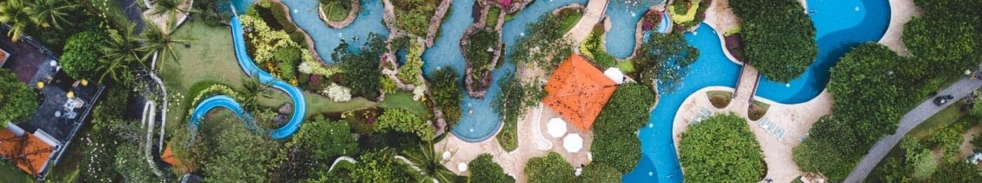 overhead view of a water park with a lazy river