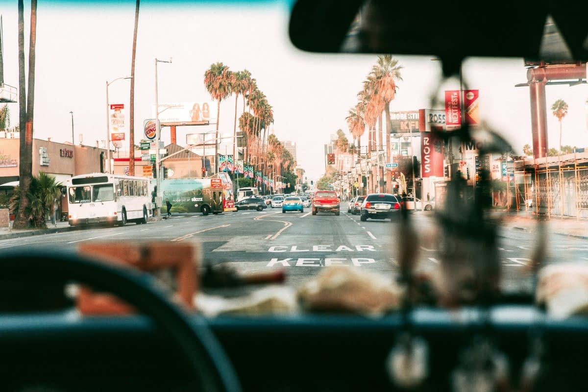 shot of a culver city california street from the POV of someone driving a car